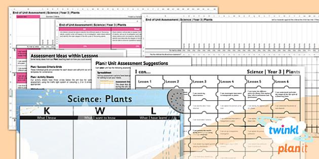 PlanIt - Science Year 3 - Plants Unit Assessment Pack - plants, unit, science, assessment, 2014, curriculum, planning, ks2
