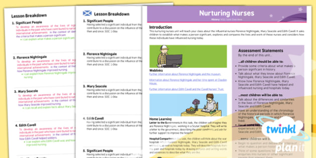 PlanIt History KS1 Nurturing Nurses Planning Overview CfE - KS1, key stage 1,history, topic, planning, resources, unit, scottish, curriculum for excellence, comparison, nightingale, crimea