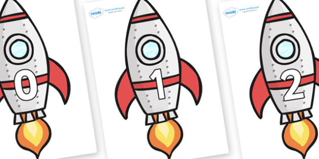 Numbers 0-31 on Rockets (Plain) - 0-31, foundation stage numeracy, Number recognition, Number flashcards, counting, number frieze, Display numbers, number posters