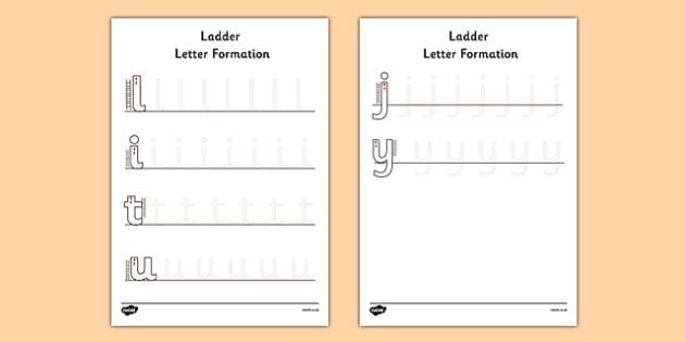 Ladder Letter Formation Activity Sheet - ladder, letter formation, worksheet
