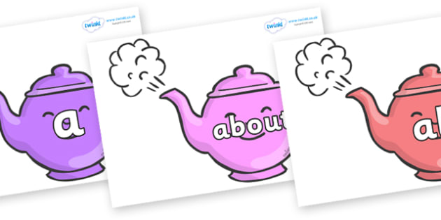 100 High Frequency Words on Teapots - High frequency words, hfw, DfES Letters and Sounds, Letters and Sounds, display words