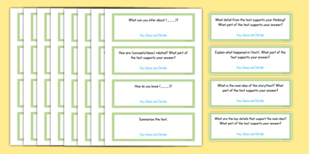 Common Core Fourth Grade Reading Informational Text Question Stem Cards USA - American, comprehension, prompts, story, non-fiction, English