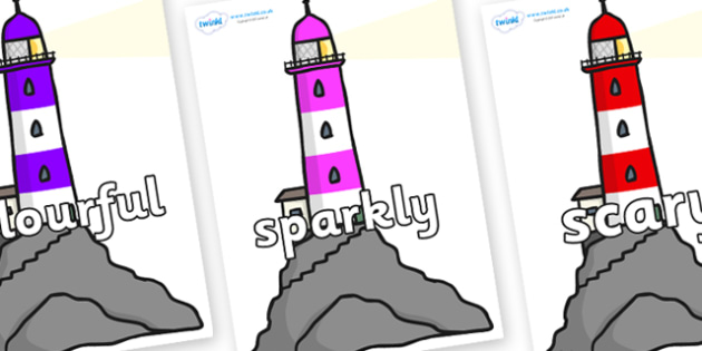 Wow Words on Lighthouses - Wow words, adjectives, VCOP, describing, Wow, display, poster, wow display, tasty, scary, ugly, beautiful, colourful sharp, bouncy