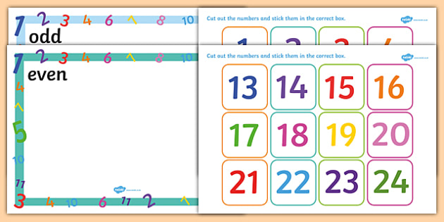 Odd and Even Number Sorting Activity - odd, even, sorting, number