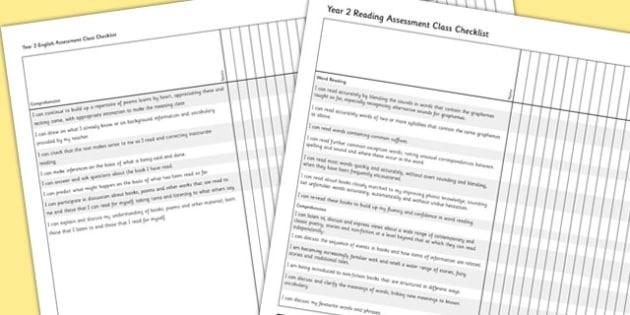 2014 Curriculum Year 2 English Reading Assessment Class Checklist