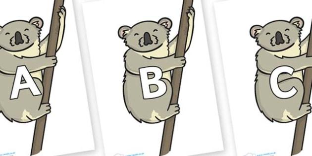 A-Z Alphabet on Koalas - A-Z, A4, display, Alphabet frieze, Display letters, Letter posters, A-Z letters, Alphabet flashcards