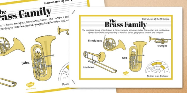 Orchestra Instruments Brass Family Poster - orchestra, instruments, brass, family, poster