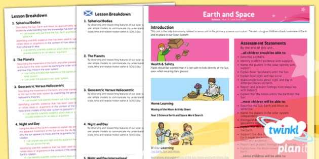 PlanIt - Science Year 5 - Earth and Space Unit Planning Overview CfE - planit, planning, overview, cfe