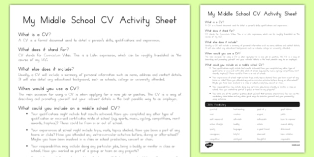 My Middle School CV Activity Sheet, worksheet