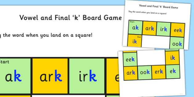 Vowel and Final 'K' Board Game - final k, sound, board game