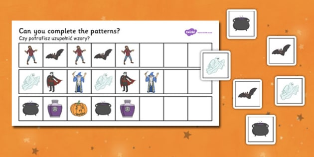 Halloween Complete the Pattern Worksheet Polish Translation - polish, halloween, hallowe'en, complete, pattern