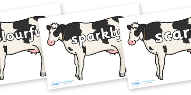 Wow Words on Cows - Wow words, adjectives, VCOP, describing, Wow, display, poster, wow display, tasty, scary, ugly, beautiful, colourful sharp, bouncy