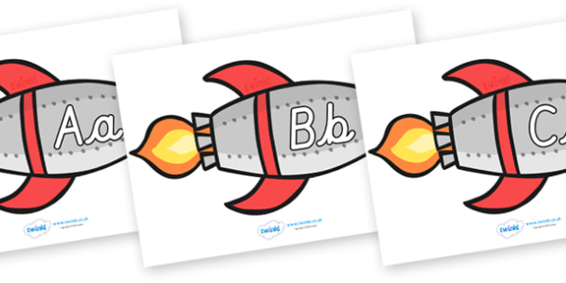 A-Z Alphabet on Rockets (Upper and Lowercase Cursive) - Rocket, topic, space, Alphabet frieze, cursive, Display letters, Letter posters, A-Z letters, Alphabet flashcards, moon, stars, planet, planets