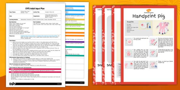 Handprint Pig Craft Adult Input Plan and Resource Pack - craft, handprint, pig, adult input, resource, pack