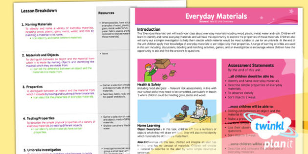 PlanIt - Science Year 1 - Everyday Materials Planning Overview - planit, planning
