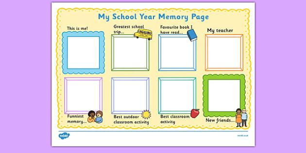 School Year Memory Write Up - writing template, school memories