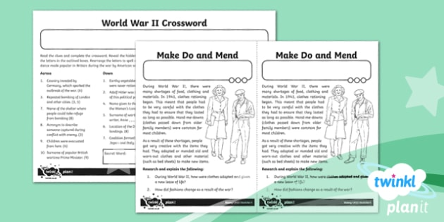 PlanIt History UKS2 World War II Home Learning Tasks