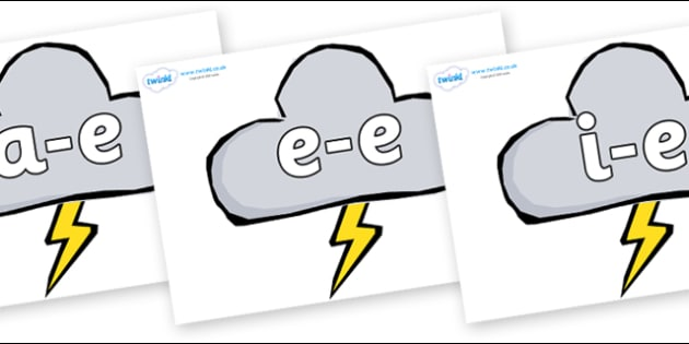 Modifying E Letters on Weather Symbols (Stormy) - Modifying E, letters, modify, Phase 5, Phase five, alternative spellings for phonemes, DfES letters and Sounds