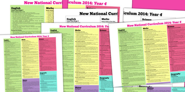 KS2 2014 Curriculum Posters Year 4 - key stage two, year four