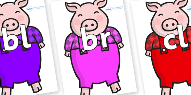 Initial Letter Blends on Pigs - Initial Letters, initial letter, letter blend, letter blends, consonant, consonants, digraph, trigraph, literacy, alphabet, letters, foundation stage literacy
