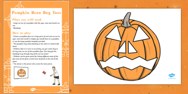 Pumpkin Bean Bag Toss Halloween Party Game and Resource Pack - activity, physical, fun, PE, PD, key stage 1, ks1, early years, halloween, teams