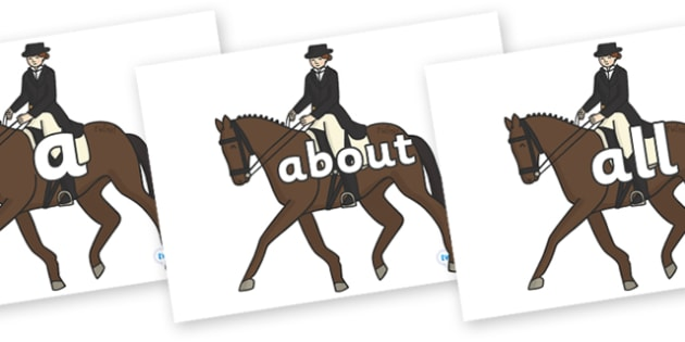 100 High Frequency Words on Equestrian (Horses) - High frequency words, hfw, DfES Letters and Sounds, Letters and Sounds, display words