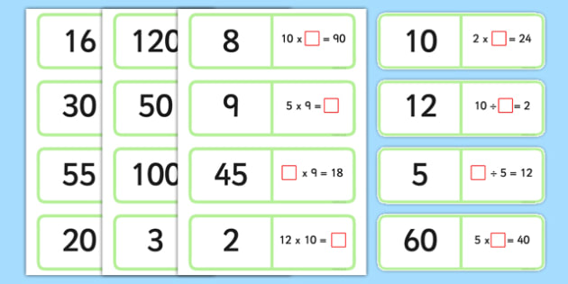 2, 5 and 10 Times Table Multiplication and Division Missing Number Loop Cards - times table, multiplication, division, missing numbers, loop cards