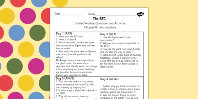 Guided Reading Questions Chapter 8 to Support Teaching on The BFG - reading aid, roald dahl