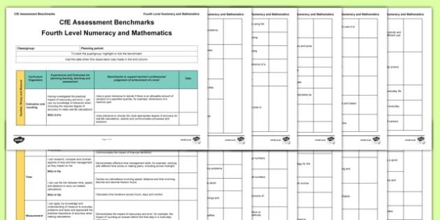 CfE Benchmarks Fourth Level Numeracy and Mathematics Assessment Tracker-Scottish