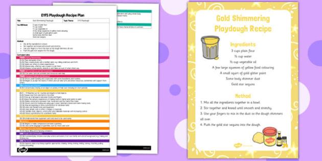 EYFS Gold Shimmering Playdough Plan and Recipe Pack - playdough