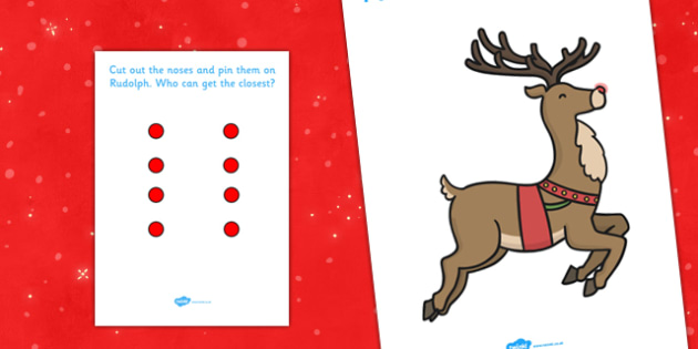 Pin The Nose On Rudolph - pin the nose, rudolph, christmas, winter, game, activity