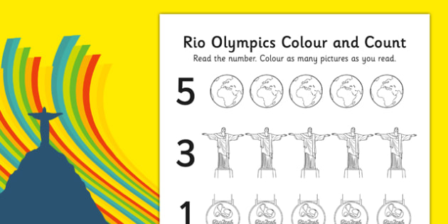 Rio Olympics 2016 Count and Colour Activity Sheet - rio olympics, 2016 olympics, count, colour, activity, sheet, worksheet