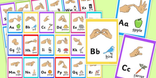British Sign Language Alphabet Image Flash Cards - flash cards