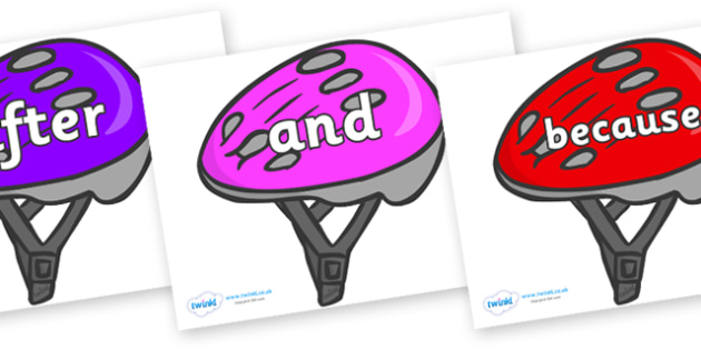 Connectives on Bike Helmets (Multicolour) - Connectives, VCOP, connective resources, connectives display words, connective displays