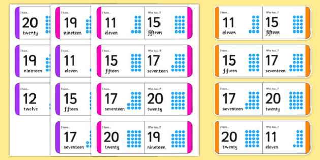 Numbers 11-20 Small Group Loop Cards