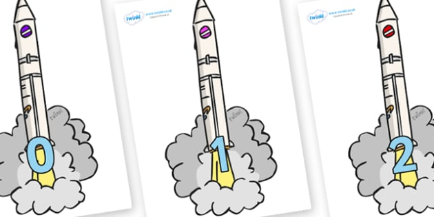 Numbers 0-50 on Launching Rockets - 0-50, foundation stage numeracy, Number recognition, Number flashcards, counting, number frieze, Display numbers, number posters