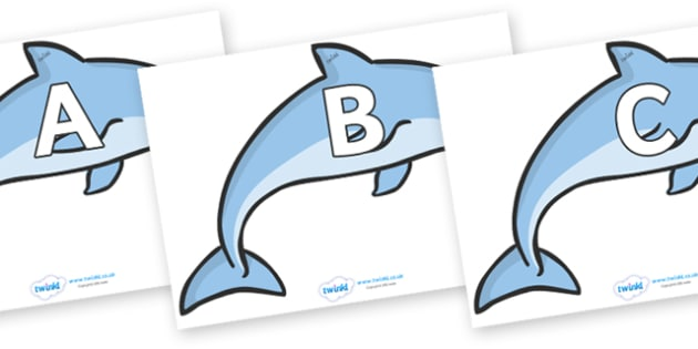 A-Z Alphabet on Dolphins - A-Z, A4, display, Alphabet frieze, Display letters, Letter posters, A-Z letters, Alphabet flashcards