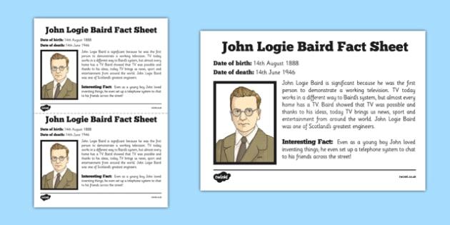 Scottish Significant Individuals John Logie Baird Fact Sheet - Scottish significant individual, television, invention, engineer, broadcast, Scottish history