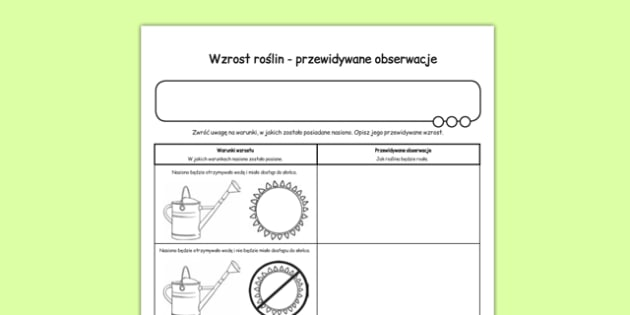 Arkusz Hodowla roślin Przewidywane obserwacje po polsku