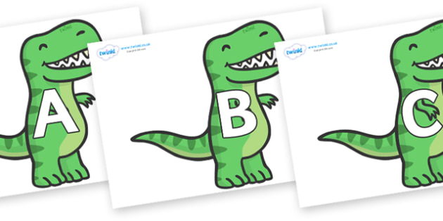 A-Z Alphabet on T Rex Dinosaurs - A-Z, A4, display, Alphabet frieze, Display letters, Letter posters, A-Z letters, Alphabet flashcards
