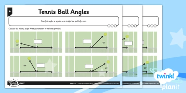 PlanIt Y5 Properties of Shapes Tennis Ball Angles Home Learning - Properties of Shapes, angles, acute, obtuse, reflex, measure angles, draw angles, degrees, protractor, angle measurer, 180 degrees, missing angle, calculate angles, straight line angle