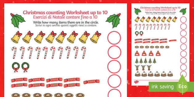 Counting at Christmas Worksheet up to 10 English/Italian - Counting at Christmas Worksheet Up to 10 - counting, christmas, worksheet, up to, 10,chritmas,chriat