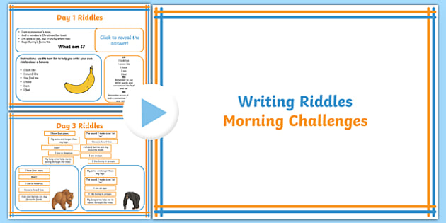 1 Week Y3 Literacy Writing Riddles Morning Activities PowerPoint