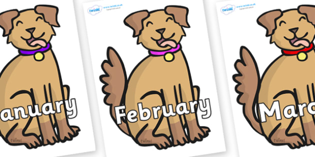 Months of the Year on Dog - Months of the Year, Months poster, Months display, display, poster, frieze, Months, month, January, February, March, April, May, June, July, August, September
