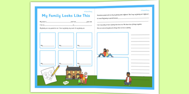 Social Story Sheet My Family Looks Like This - social story, sheet, family, looks