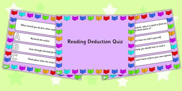 Reading Deduction PowerPoint Quiz - reading, powerpoint, quiz