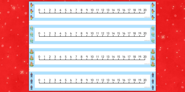 Number Lines 0-20 to Support Teaching on The Jolly Christmas Postman - the jolly christmas postman, number lines, the jolly postman number lines, number line 0-20