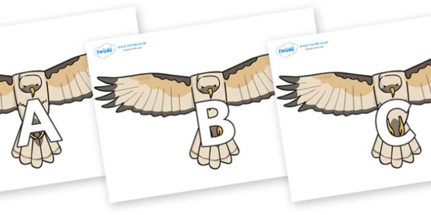 A-Z Alphabet on Hawks - A-Z, A4, display, Alphabet frieze, Display letters, Letter posters, A-Z letters, Alphabet flashcards