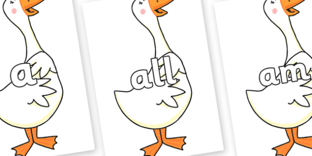 Foundation Stage 2 Keywords on Hullabaloo Goose to Support Teaching on Farmyard Hullabaloo - FS2, CLL, keywords, Communication language and literacy,  Display, Key words, high frequency words, foundation stage literacy, DfES Letters and Sounds, Lette