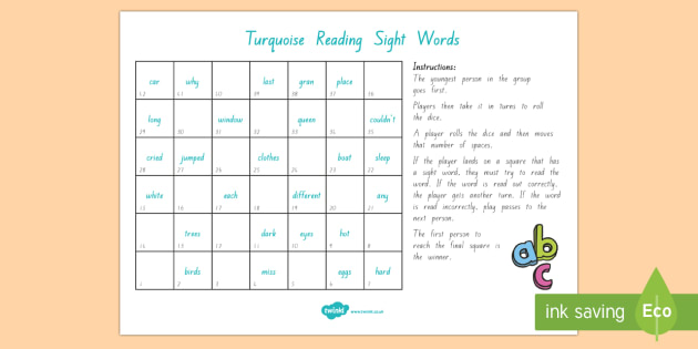 Turquoise Reading Sight Words Board Game - Literacy, Reading, Colour Wheel, Turquoise, Sight Words, turquoise sight words